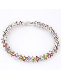 Cranes Multicolor Diamond Decorated Square Shape Design Zircon Crystal Bracelets