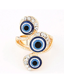 Toddler Blue Diamon Decorated Eye Shape Design Alloy Korean Rings