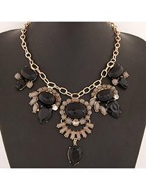 Costume Black Gemstone Decorated Waterdrop Shape Design Alloy Bib Necklaces