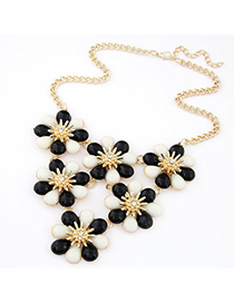 Homecoming Black & White Flower Shape Decorated Simple Design Alloy Bib Necklaces