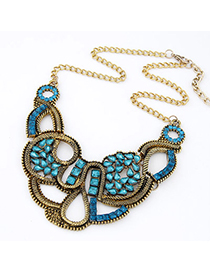Stationery Navy Blue Gemstone Decorated Weave Design Alloy Korean Necklaces