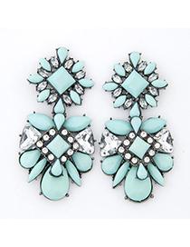 Promo Light Blue Gemstone Decorated Geometrical Shape Design Alloy Stud Earrings