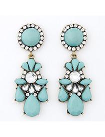 Mink Blue Gemstone Decorated Waterdrop Shape Design Alloy Stud Earrings