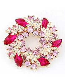 Blank Red Diamond Decorated Leaf Shape Design Alloy Korean Brooches