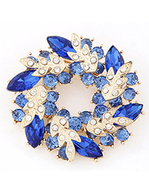 2013 Blue Diamond Decorated Leaf Shape Design Alloy Korean Brooches