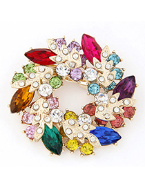 Hemp Multicolor Diamond Decorated Leaf Shape Design Alloy Korean Brooches