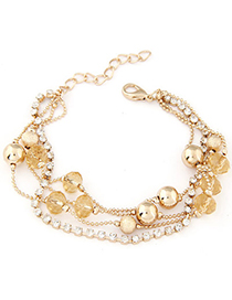 University Gold Color Diamond Decorated Multilayer Design Alloy Korean Fashion Bracelet