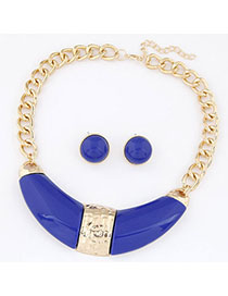 Rhinestone Sapphire Blue Gemstone Decorated Simple Design Alloy Jewelry Sets