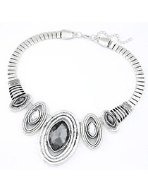 Homemade Gray Oval Shape Decorated Simple Design Alloy Fashion Necklaces