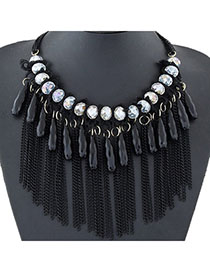 Airmail Black Diamond Decorated Tassel Design Alloy Fashion Necklaces