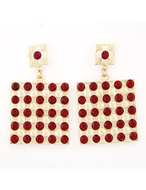 Customized Red Diamond Decorated Square Shape Design Alloy Stud Earrings