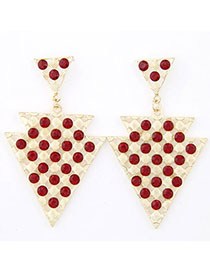 Dreamlike Red Diamond Decorated Triangle Shape Design Alloy Stud Earrings