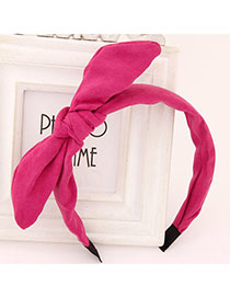 Friendship Plum Red Pure Color Bowknot Shape Simple Design Fabric Hair band hair hoop