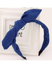 Plaid Blue Pure Color Bowknot Shape Simple Design Fabric Hair band hair hoop