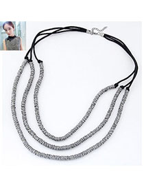 Famale Gun Black Metal Weave Multilayer Design Alloy Multi Strand Necklaces