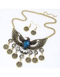 Printed Blue Eagle Shape Decorated Hollow Out Design Alloy Jewelry Sets