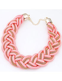 Plussize Pink Metal Decorated Weave Design Alloy Chokers