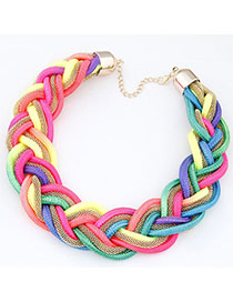 Retro Multi-color Geometric Shape Decorated Necklace