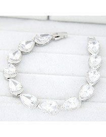 Wholesale White Waterdrop Shape Decorated Simple Design Zircon Fashion Bracelets