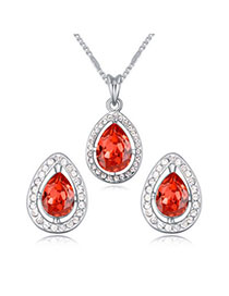 Players Padparadscha Diamond Decorated Waterdrop Shape Design Alloy Crystal Sets