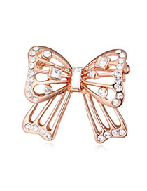 Patagonia White & Rose Gold Hollow Out Butterfly Shape Simple Design Alloy Crystal Brooches