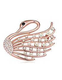 Christenin Gloss White & Rose Gold Diamond Decorated Swan Shape Design Alloy Crystal Brooches