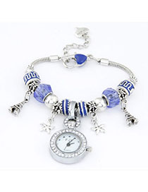 Kinetic Sapphire Blue Elements Decorated Simple Design Alloy Ladies Watches