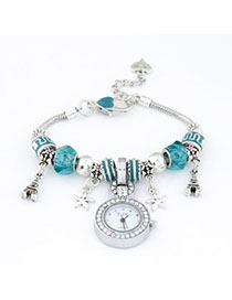 Plated Blue Elements Decorated Simple Design Alloy Ladies Watches