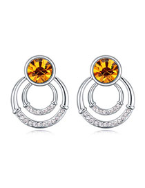 Velvet Yellow Diamond Decorated Round Shape Design Alloy Crystal Earrings