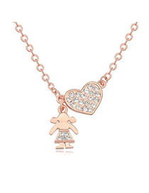 Parker White & Rose Gold Diamond Decorated Heart Pendant Design Zircon Crystal Necklaces