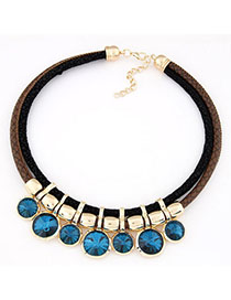 Electronic Navy Blue Diamond Decorated Double Layer Design Alloy Bib Necklaces