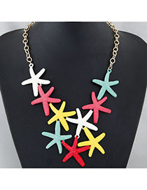 Stationery Multicolor Starfish Shape Decorated Simple Design Alloy Bib Necklaces