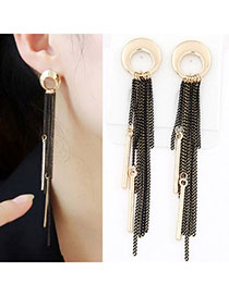 Bridesmaid Black Chain Decorated Tassel Design Alloy Stud Earrings