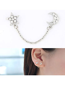 Expensive Silver Color Star & Moon Shape Decorated Simple Design Alloy Stud Earrings
