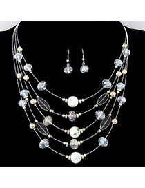 High Quali White Beads Decorated Mutilayer Design Alloy Jewelry Sets