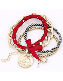 Baroque Red & Gold Color Bowknot Decorated Multilayer Design Alloy Korean Fashion Bracelet