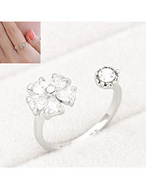 Stylish Silver Color Diamond Decorated Flower Design Alloy Korean Rings