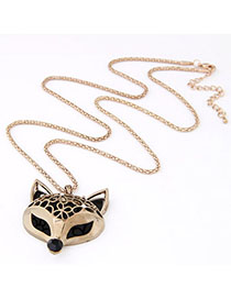 Catholic Gold Color Fox Shape Pendant Decorated Simple Design Alloy Bib Necklaces