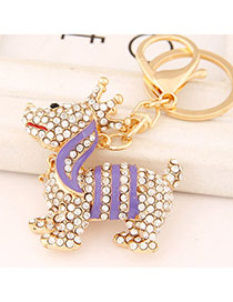 Friendship Purple Diamond Decorated Dog Shape Design Alloy Fashion Keychain