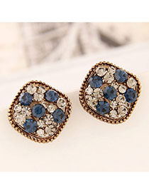 Corduroy Gold Color Diamond Decorated Square Shape Design Alloy Stud Earrings