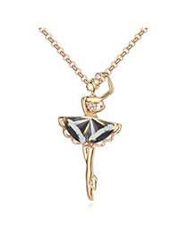 Clutch Black & Champagne Gold Dancing Girl Shape Decorated Simple Design Alloy Crystal Necklaces