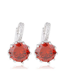 Japanese Garnet Red Diamond Decorated Simple Design Alloy Crystal Earrings