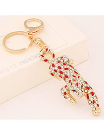 Bodybuildi Red Diamond Decorated Leopard Shape Design Alloy Fashion Keychain