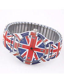 Religious Red & Blue Flag Pattern Decorated Simple Design Alloy Ladies Watches