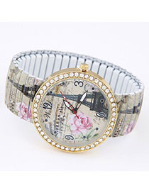 Profession Light Brown Diamond Decorated Eiffel Tower Pattern Design Alloy Ladies Watches