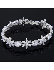 University White Diamond Decorated Flower Design Zircon Korean Fashion Bracelet