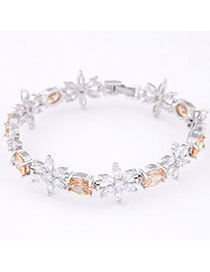 Amethyst Yellow Diamond Decorated Flower Design Zircon Korean Fashion Bracelet