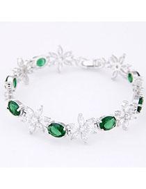 Classic Green Diamond Decorated Flower Design Zircon Korean Fashion Bracelet
