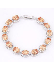 Spiritual Yellow Diamond Decorated Oval Shape Design Zircon Korean Fashion Bracelet
