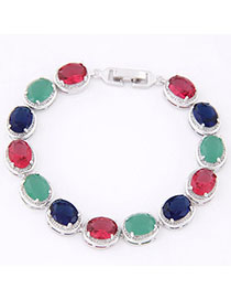 Scrapbooki Multicolor Diamond Decorated Oval Shape Design Zircon Korean Fashion Bracelet